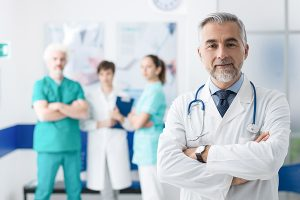 Doctor and team