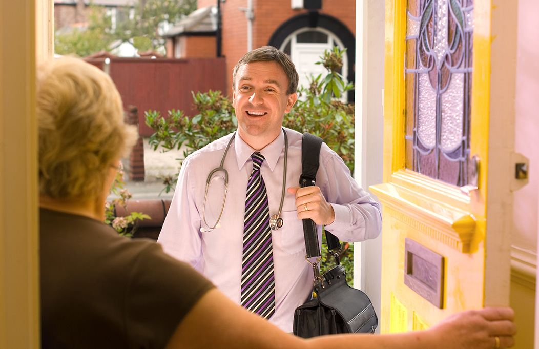 house call doctor at door