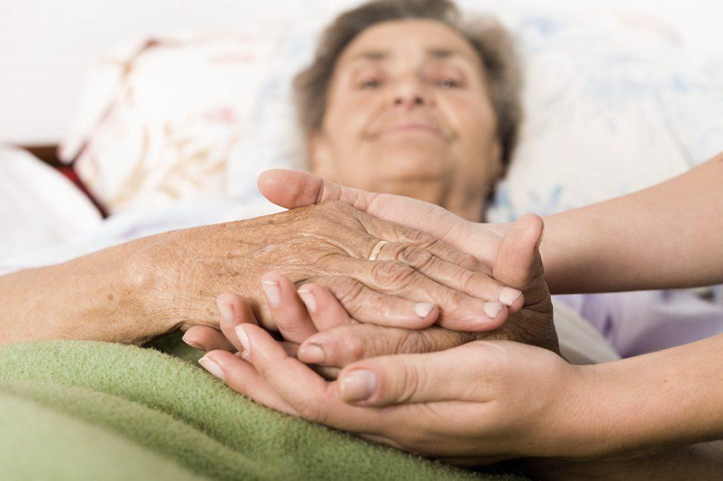 frail elderly and caretaker